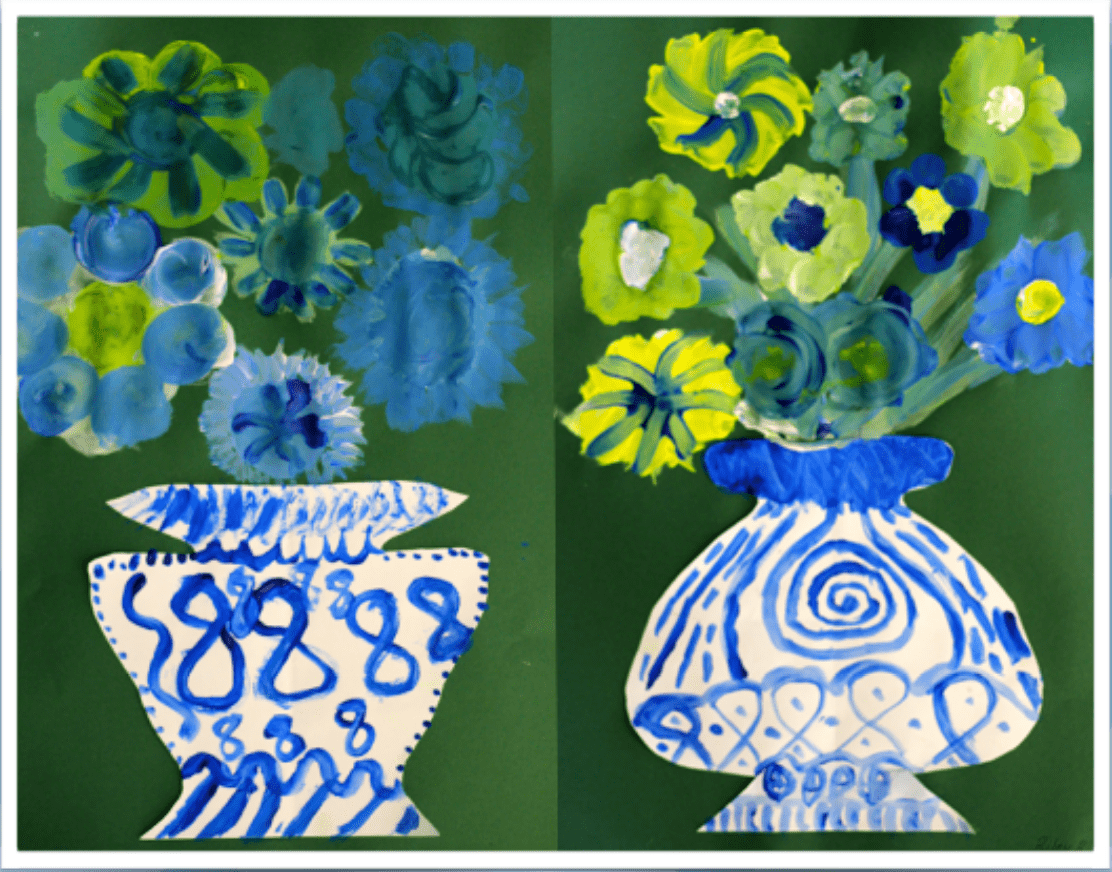 Chinese vases art lesson with tempera paint