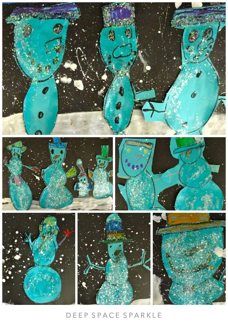 Winter Snowman Art Collage Lesson