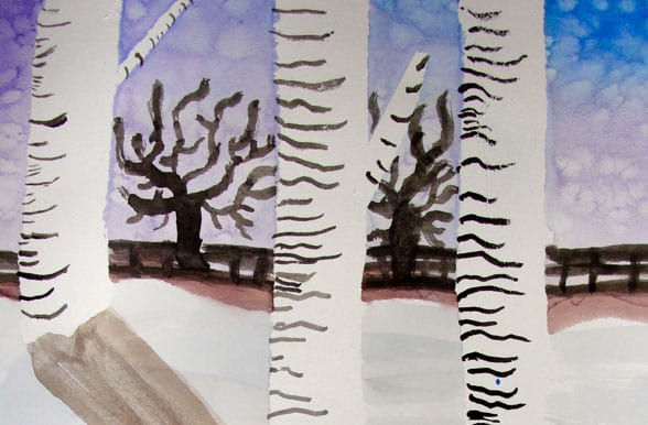 Birch tree watercolor lesson