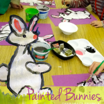 Stamped bunny art project. An easy art and craft project for Easter or Springtime art activities.