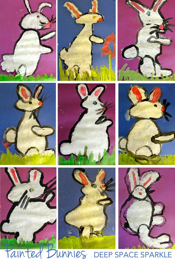 Stamped bunny art project. An easy art and craft project for Easter or Springtime art activities. First grade gallery