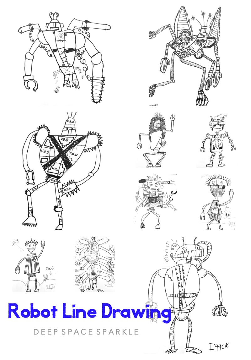 Line Design Art Lesson : Robot line drawing deep space sparkle