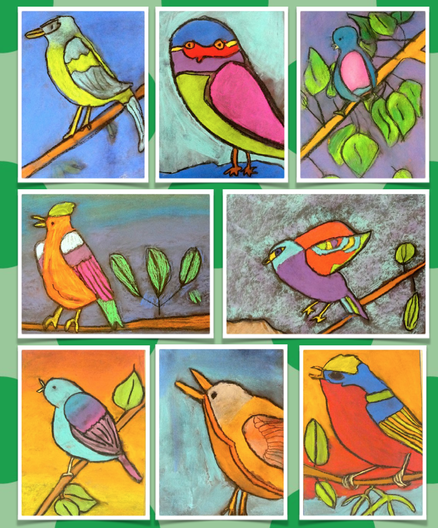 How to draw a bird and color with chalk pastels