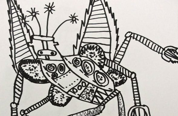 Line Art Robot : Robot line drawing deep space sparkle