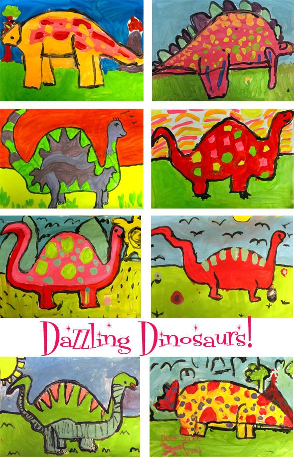 Art Lessons : Dinosaur art project deep space sparkle