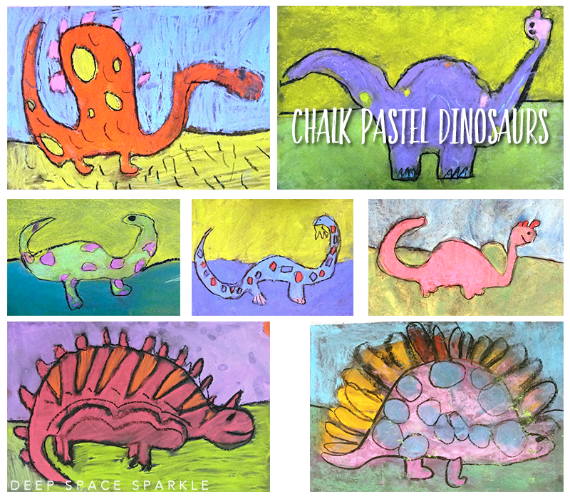 Dinosaur art project for kids: draw and color a dinosaur with chalk pastels