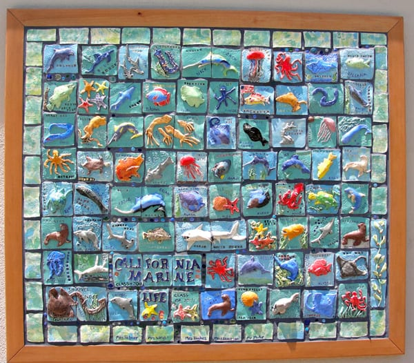 6th grade ceramic mural deep space sparkle for California mural