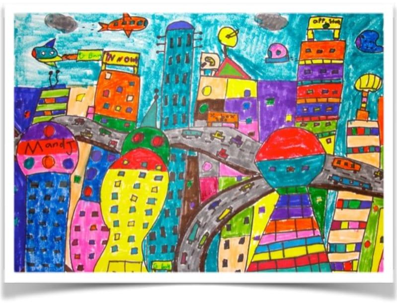 Line Design Art Activities : Futuristic city line drawing art project deep space sparkle
