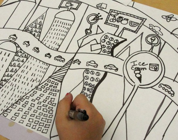 Line Drawing Lesson : Futuristic city line drawing art project deep space sparkle