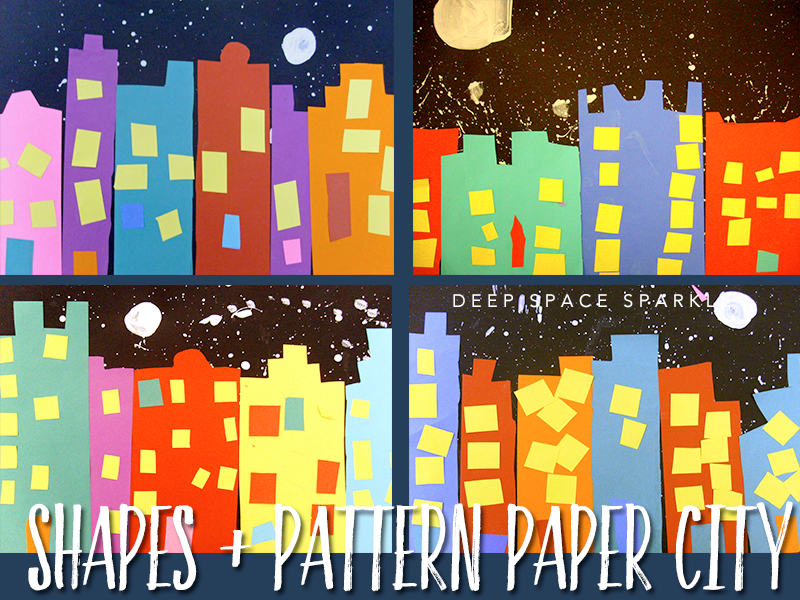 shapes and pattern paper city art project for Kindergarten