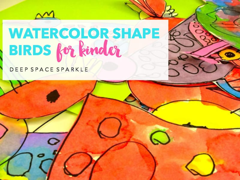 Watercolor shape birds for kinder