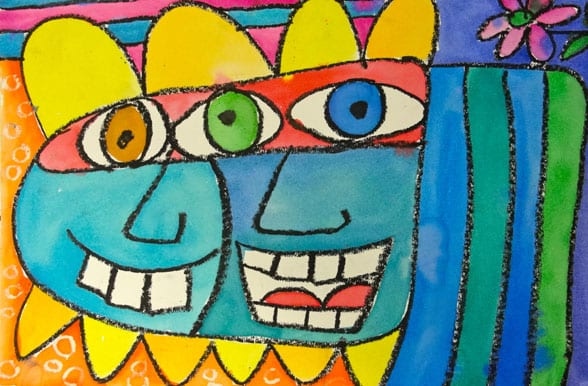 james rizzi art lessons kids draw and paint colorful faces using oil pastel and watercolor paints inspired by american artist
