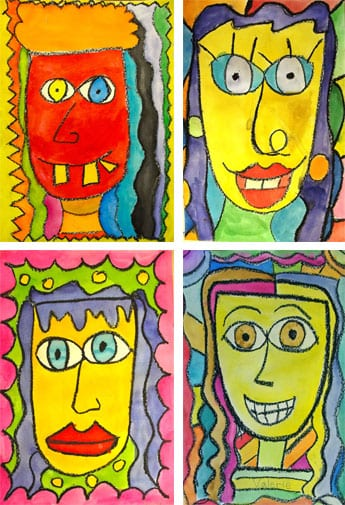 kids draw and paint colorful faces using oil pastel and watercolor paints inspired by american artist single james rizzi portraits