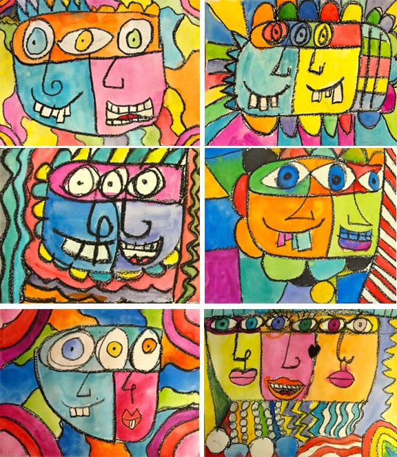 Kids draw and paint colorful faces using oil pastel and watercolor paints inspired by American artist, James Rizzi.