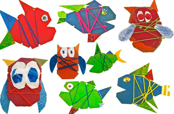 Cardboard Fish and Owl Art Project