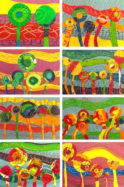 Hundertwasser art project for kids that teaches warm and cool colors plus pattern and line.  Student gallery