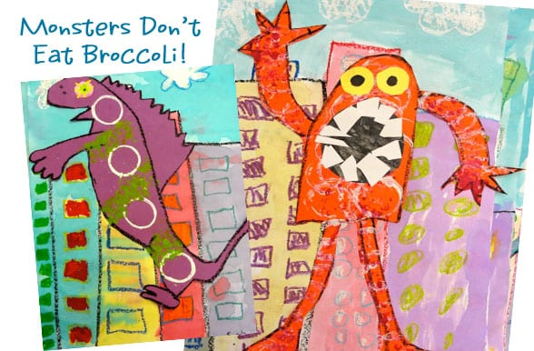 My favorite art projects for kids connect literature and art. Read Monsters Don't Eat Broccoli by Barbara Jean Hicks then create a monster and cityscape collage.