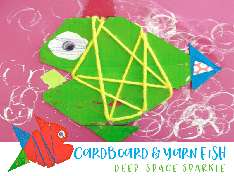 CARDBOARD AND YARN FISH CRAFT FOR KIDS