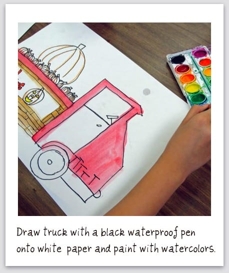 Draw truck with black waterproof pen onto white paper- step 1 how to draw a truck