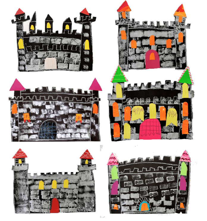 Easy stamped castle art project for kids