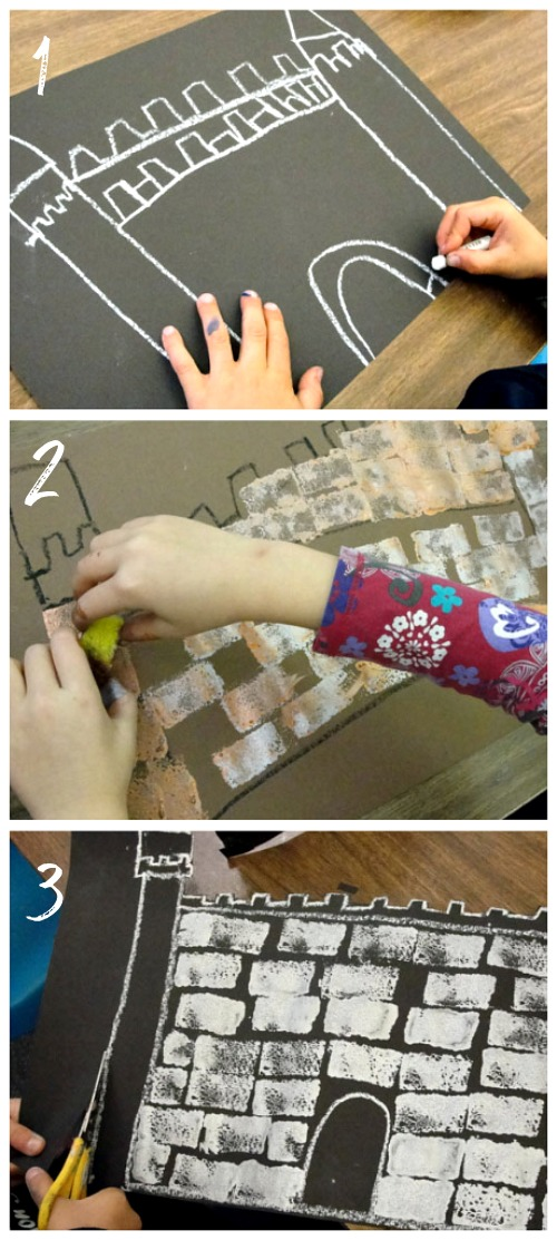 Step 1, 2,3- fairytale castle drawing
