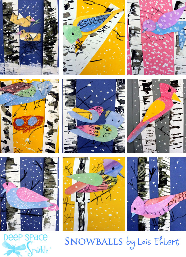 Winter Bird Art Lesson - Deep Space Sparkle