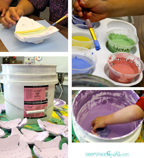 Steps to make a ceramic slab fish with little kids. You can substitute air dry clay and acrylic paints.