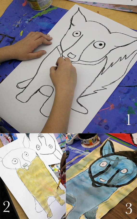 Step 1, 2, and 3-George Rodrigue's Blue Dog Art Lesson