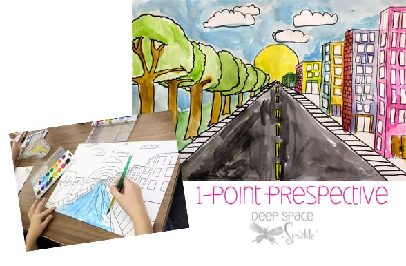 Struggling with teaching one-point perspective? This drawing lesson is super easy and offers lots of opportunity for your students to be creative and expressive.
