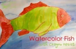 Watercolor Resist Tropical Fish