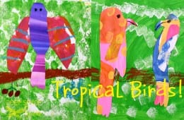 Painted Paper Tropical Birds