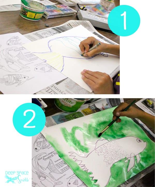Step 1 and 2 Watercolor Resist Tropical Fish