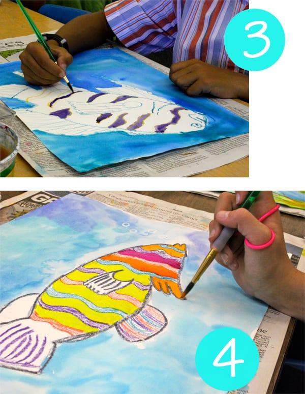 Step 3 and 4 Watercolor Resist Tropical Fish