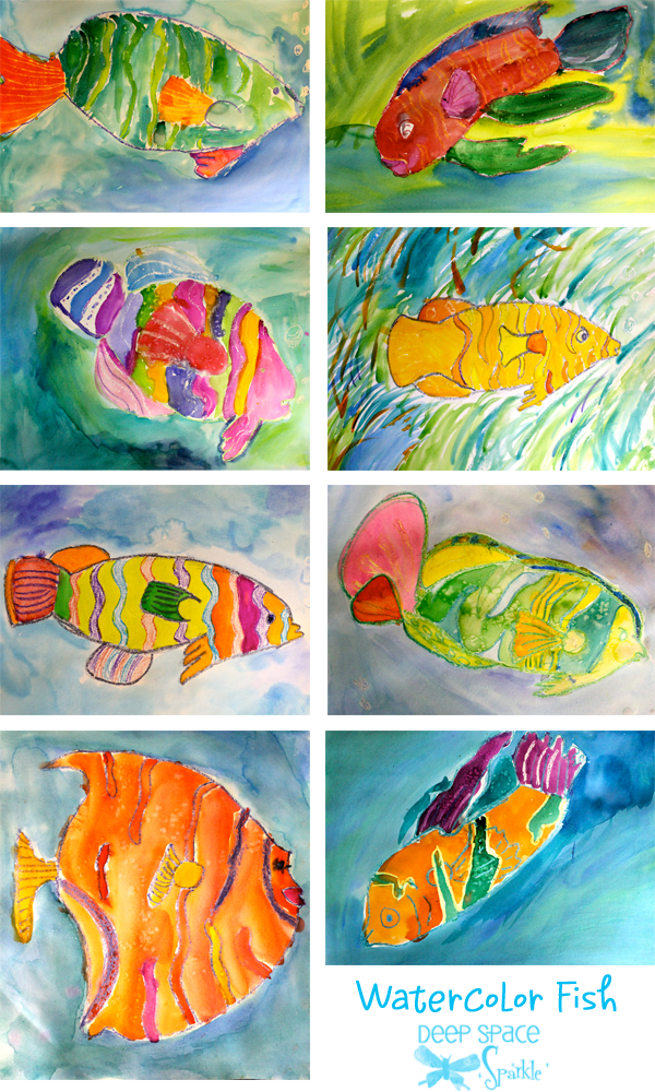 Watercolor resist tropical fish deep space sparkle for Watercolor painting and projects