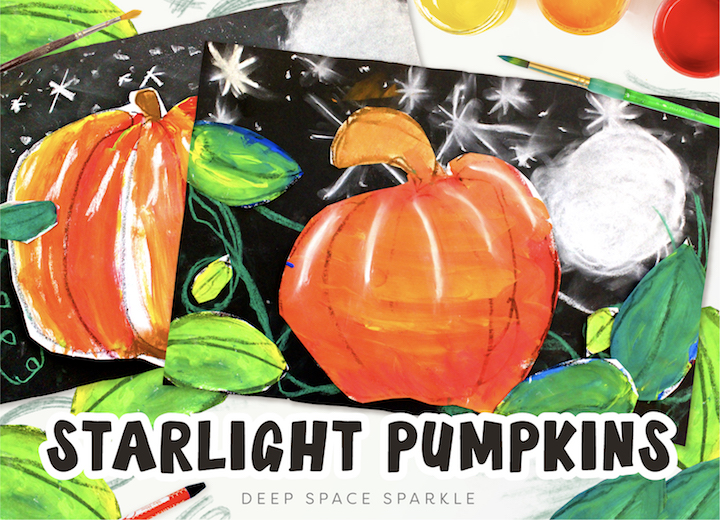 Starlight Pumpkins art projects for the fall season. Pumpkin lessons for students in the art room. Free drawing guides included!