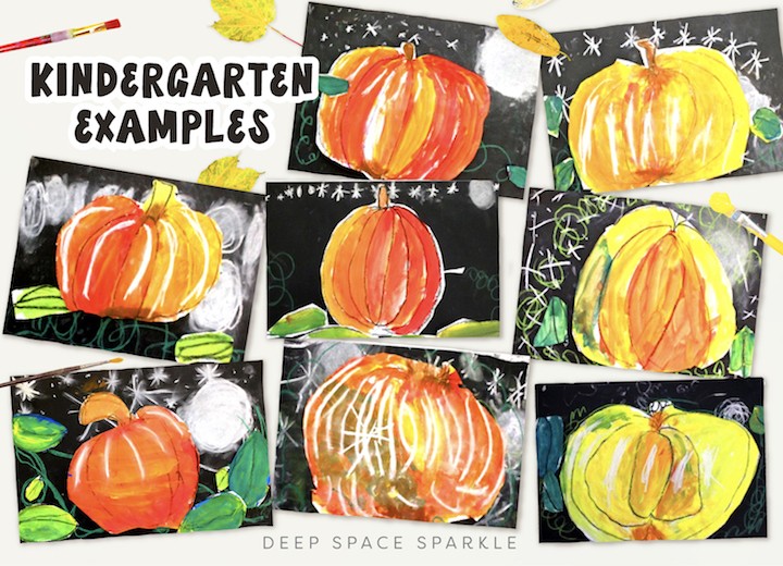 Starlight Pumpkins art projects for the fall season. Pumpkin lessons for students in the art room using easy supplies with kindergarteners