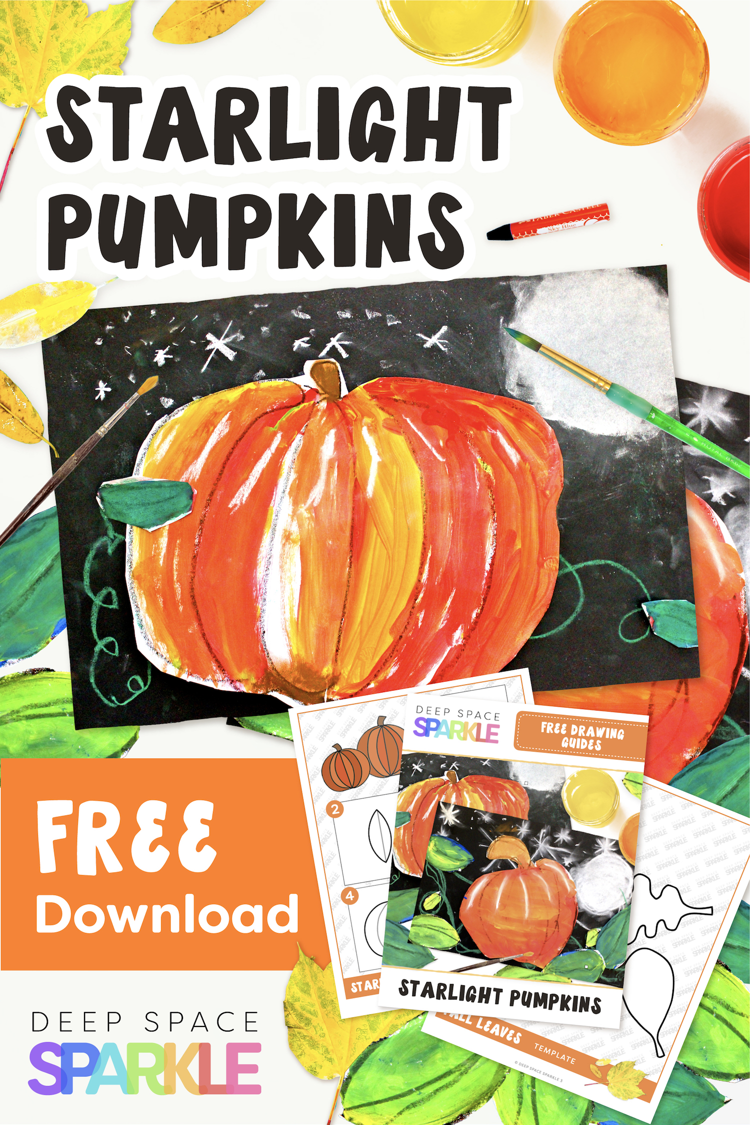Starlight Pumpkins art projects for the fall season. Pumpkin lessons for students in the art room using easy supplies with kindergarteners. Free drawing guides included!