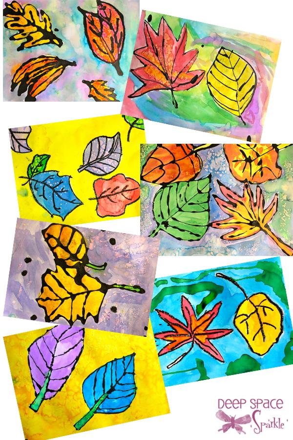 Watercolor Leaves Resist Project | Deep Space Sparkle