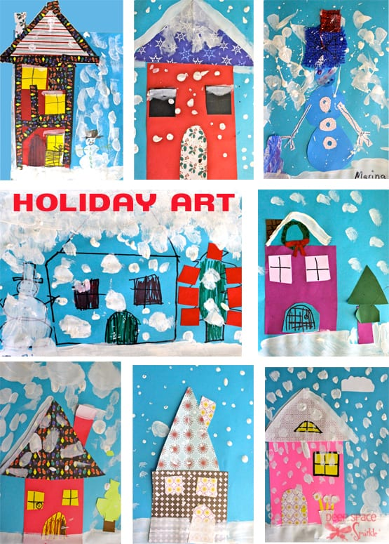 an easy holiday art and craft project for kids that uses paint and scrap paper