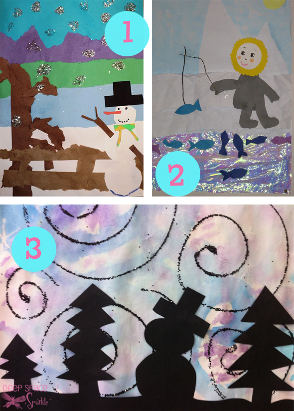 1,2, and 3 winter art