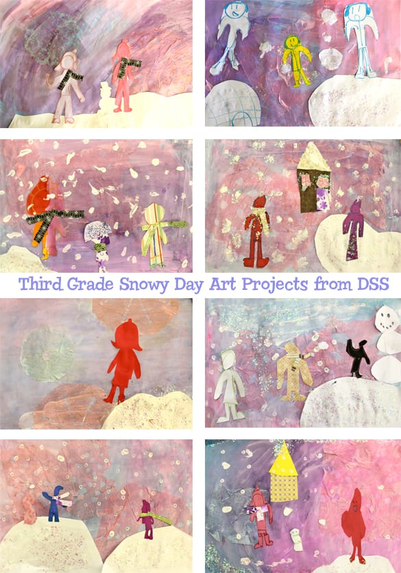 Inspired by the book, The Snowy Day, kids create snowflakes, paint a glittery snowy background and cut snow kids from paper.