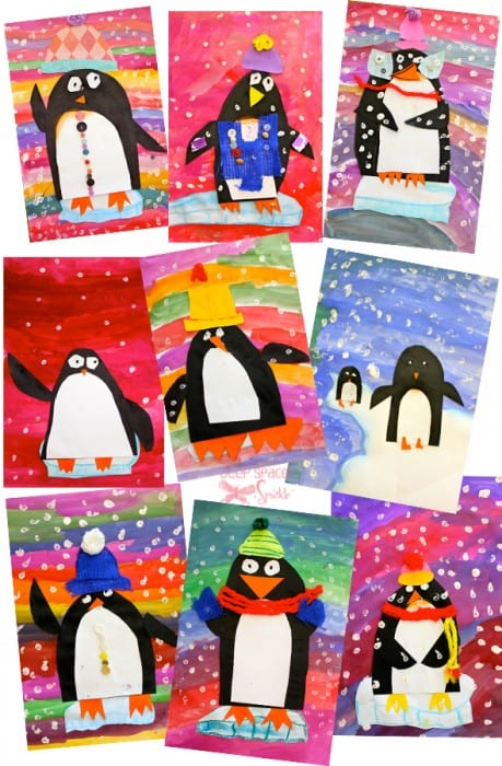 first grade penguins art project paper winter lessons