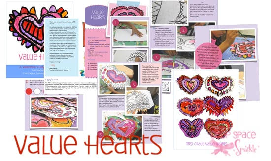 Value Hearts Art Project for Kids: art lesson that teaches color and value. Great activity for Valentine's Day