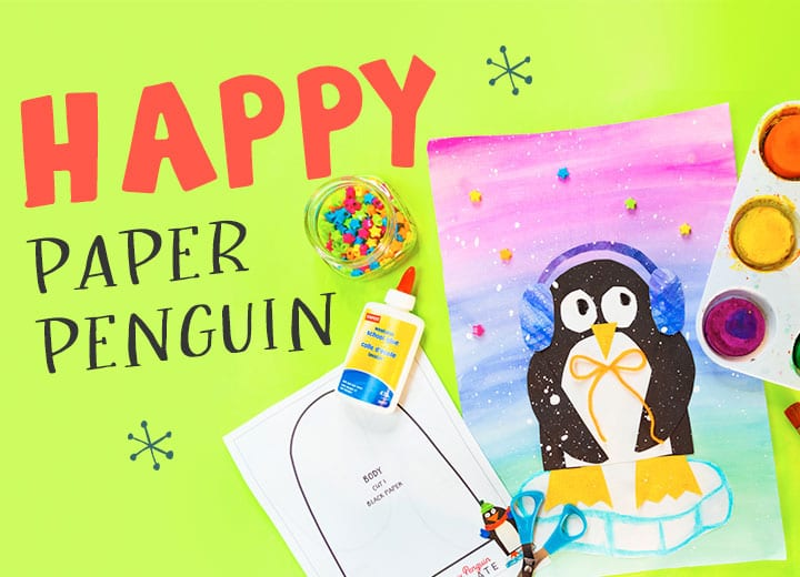 make a paper penguin art winter lesson for kids