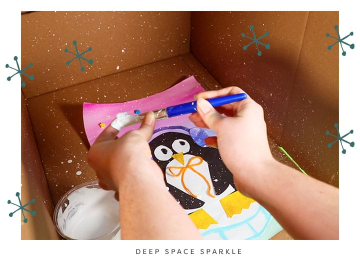happy paper penguin project splatter paint winter lesson for kids