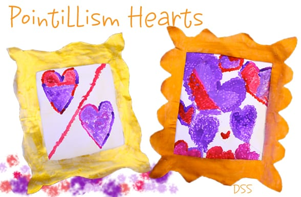 Kids create a pointillism heart and gilded frame. Great art and craft project for Valentine's Day.
