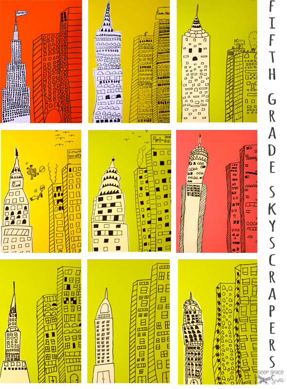 Inspired by Illustrator Marz Jr and pictures of New York skyscrapers, kids draw a retro line drawing. Fifth grade gallery