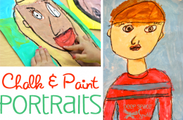 Chalk Pastel & Tempera Paint Portraits for Kinders
