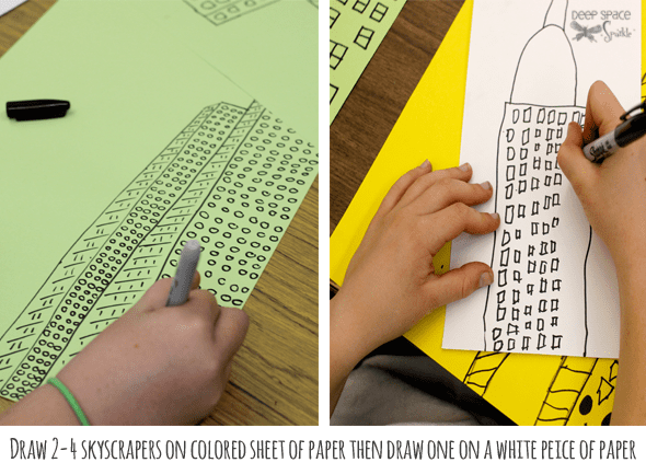 Inspired by Illustrator Marz Jr and pictures of New York skyscrapers, kids draw a retro line drawing