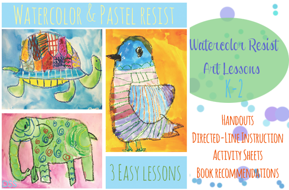 Watercolor-and-Pastel-resist-Art-lessons